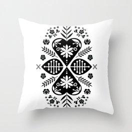 Monochrome Scandi Folk Pattern Art Throw Pillow