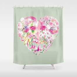 Blush Heart Shower Curtain