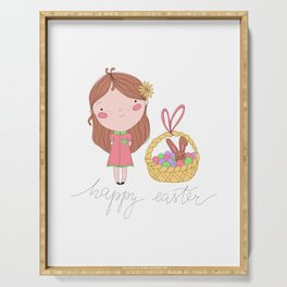 Happy Easter Illustration Serving Tray
