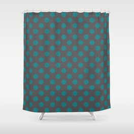 Large Polka Dots in Teal on Charcoal Gray Shower Curtain