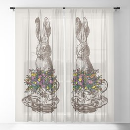 Rabbit in a Teacup | Vintage Rabbit in Tea Cup with Wildflowers | Bunny Rabbits | Bunnies | Hares | Sheer Curtain