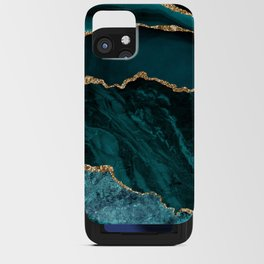 Teal Blue Emerald Marble Landscapes iPhone Card Case