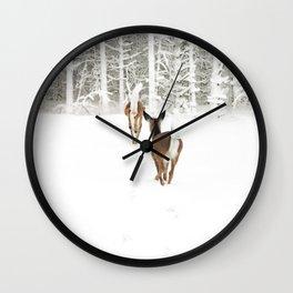 Doe In Winter Wall Clock