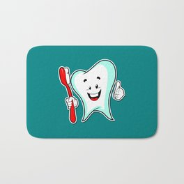 Dental Care happy Tooth with Toothbush Bath Mat