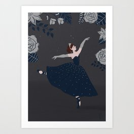 Ballerina in Midnight Blue Dress Art Print