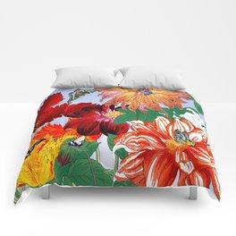 Dazzlin' Dahlias, Tulips, B'flies Comforters