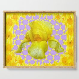 ABSTRACT YELLOW SPRING IRIS GOLDEN DAFFODILS FRAME Serving Tray