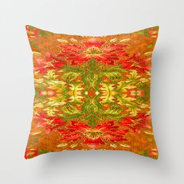 French Tapestry Style Red Poppy Floral Throw Pillow