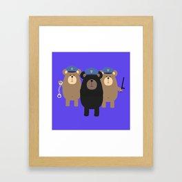 Police Officers bear Framed Art Print