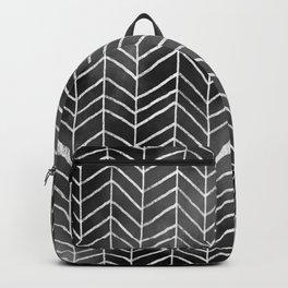 Watercolor Herringbone Pattern (white/black) Backpack