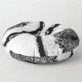 Gray Black White Agate Glitter Glamor #2 #gem #decor #art #society6 Floor Pillow
