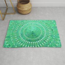 Green Floral Circle Mandala Rug
