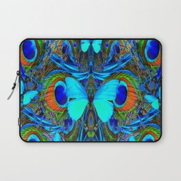ELECTRIC NEON BLUE BUTTERFLIES & BLUE PEACOCK FEATHERS Laptop Sleeve