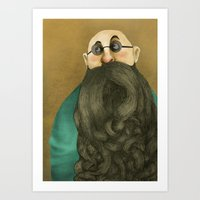 beard Art Prints featuring Beard by Slavena Peneva