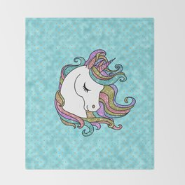 Turquoise Blue Faux Glitter Unicorn Rug Throw Blanket