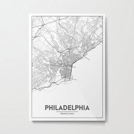 Minimal City Maps - Map Of Philadelphia, Pennsylvania, United States Metal Print