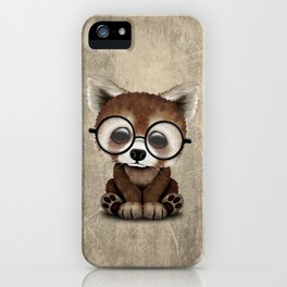 Cute Nerdy Red Panda Wearing Glasses iPhone Case