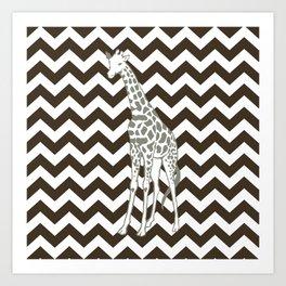 Cola Safari Chevron with Pop Art Giraffe Art Print