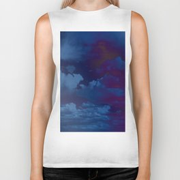 Clouds in a Stormy Blue Midnight Sky Biker Tank
