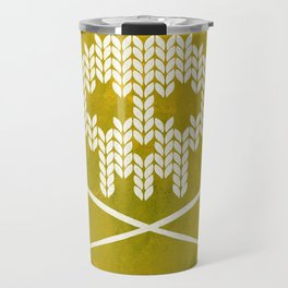 Knitted Skull (White on Yellow) Travel Mug
