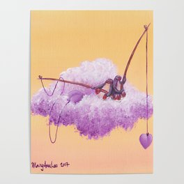Purple penguin couple fish for purple hearts in a yellow sky Poster