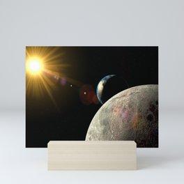 Moon Earth Sun lens flare Mini Art Print