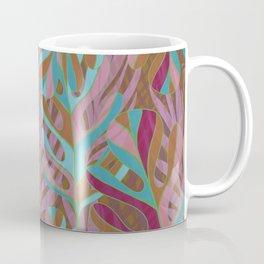 Tropical Burst, pink and green leaf pattern Coffee Mug
