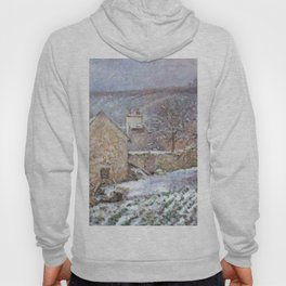 Snow At The Hermitage Pontoise 1874 By Camille Pissarro | Reproduction | Impressionism Painter Hoody