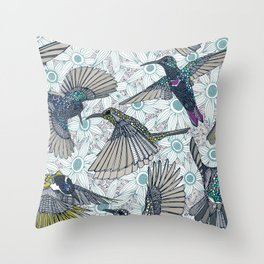 hum sun honey birds blue Throw Pillow