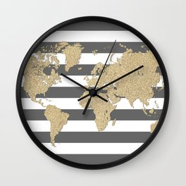 Gold glitter and gray stripes world map Wall Clock
