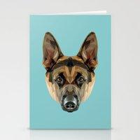 german shepherd Stationery Cards featuring German Shepherd // Blue by peachandguava