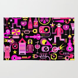 Festive City Vector Illustration Rug
