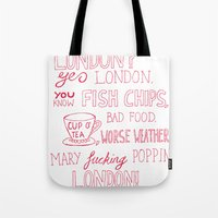 snatch Tote Bags featuring snatch quote red by Jordan Coombes