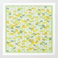 herringbone Art Prints featuring Herringbone by Jaybeak