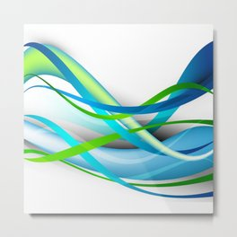 Modern Blue and Green Streamers Metal Print