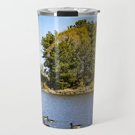 Canadian Geese Swimming with Fall Colors all around at Lake Cuyamaca, California Travel Mug