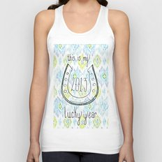2013 - My Lucky Year Print, hand lettered horse-shoe Unisex Tank Top