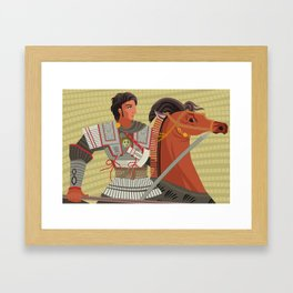 alexander the great mosaic riding a horse Framed Art Print