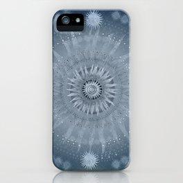 """Indigo blue & Cinder Vault Mandala(Silver stars)"" iPhone Case"