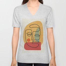 Abstract Face 20 Unisex V-Neck