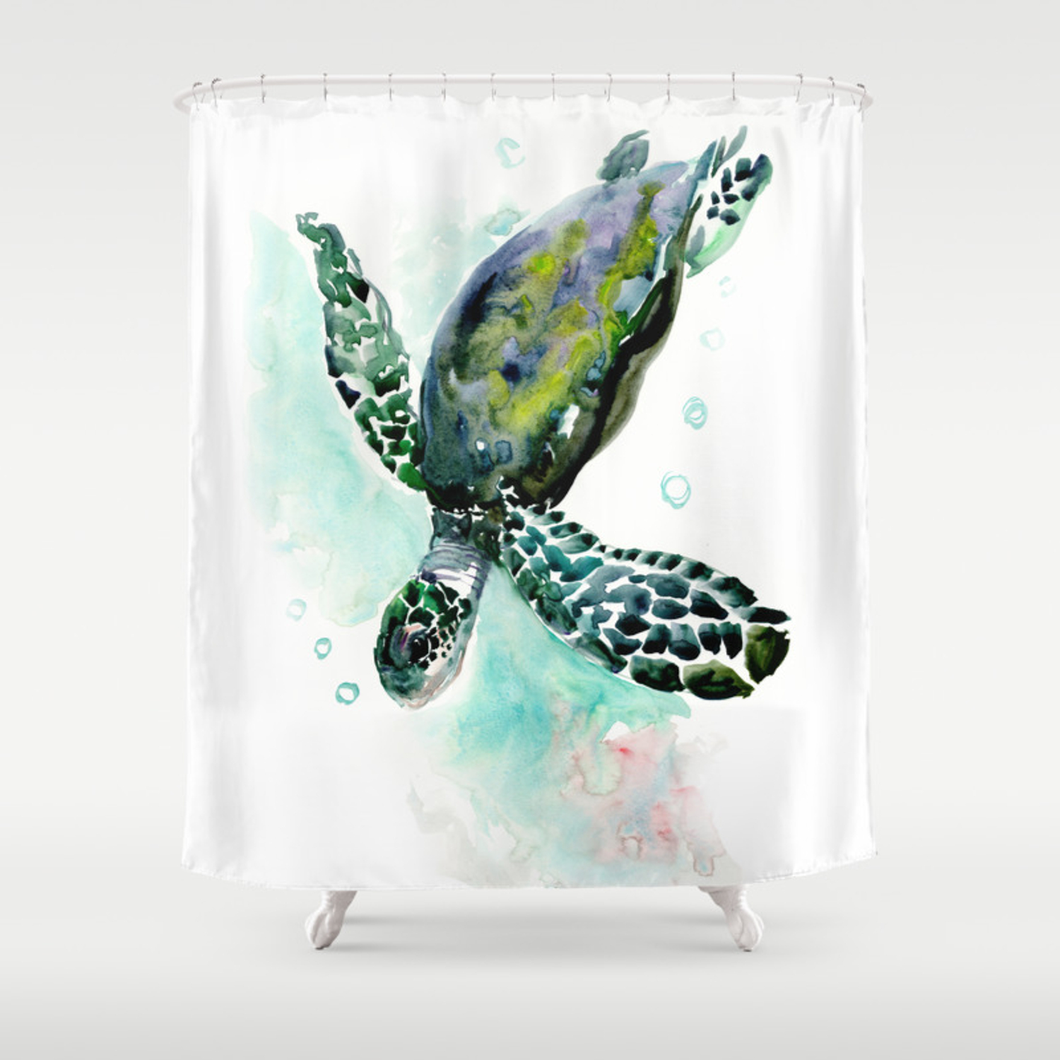 Sea Turtle Underwater Scene Green Turquoise Beach House Design Shower Curtain