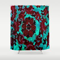 china Shower Curtains featuring China Flower by Jeffrey J. Irwin