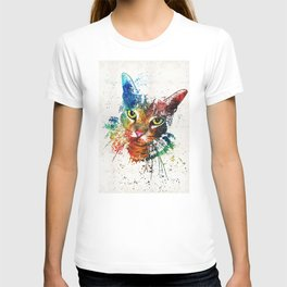 Colorful Cat Art by Sharon Cummings T-shirt