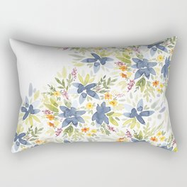 Blue Watercolor Florals Rectangular Pillow