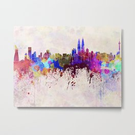 Kuala Lumpur skyline in watercolor background Metal Print