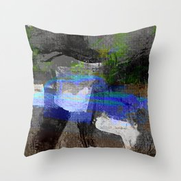 Abstract Canvas Painting Digital Art- Blue Vintage Car Throw Pillow