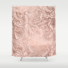 Modern rose gold floral illustration on blush pink Shower Curtain