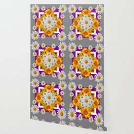 GREY & WHITE DAISIES FLORAL ABSTRACT & YELLOW SUNFLOWERS Wallpaper