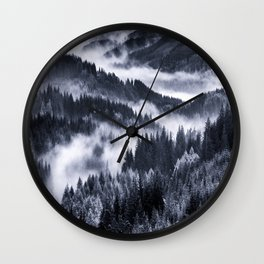 Misty Forest Mountains Wall Clock