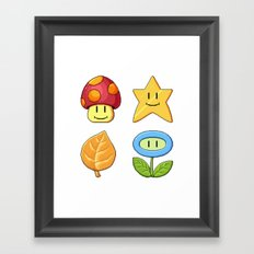 Mushroom Star Leaf Flower Framed Art Print